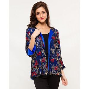 Blue Silk Jacket with Embroidered Net Covering with 3/4 Sleeves for Women - Smart-fit -