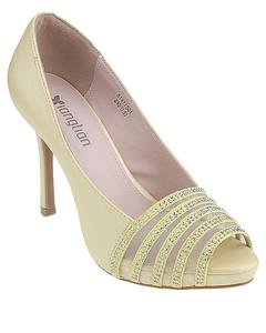 Yellow Imported Synthetic Leather Glittery High Heels for Women - UU97