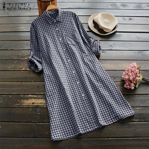 ZANZEA Women Plus Size Tunic Button Down Top Blouse Plaid Check Shirt Dress