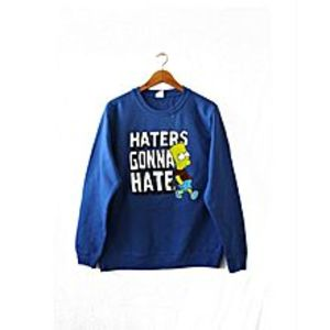 Brand X T-Shirts Blue Fleece Hater Gonna Hate Printed Sweatshirt For Women