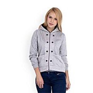 Abdul CollectionGrey Fleece 8 Button Zipper Winter Hoodie for Women
