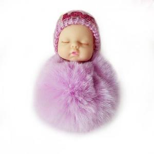 Cute Sleeping Baby Doll Keychain Soft Fur Pendant Car Bag Charm Keyring purple about 10cm