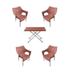 (Boss) Pack Of 4 Rattan Stylish Plastic Chairs And Plastic Table - Brown