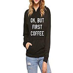 Street StyleBlack Cotton Fleece Printed Hoodie for Women