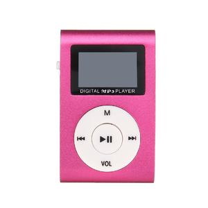 Mini Mental USB Music Clip MP3 Player LCD Screen Support 32GB Micro SD TF Card Pink