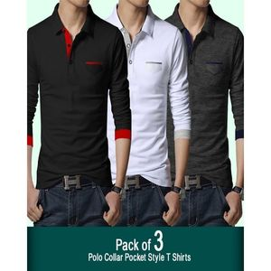 Shopping At Craze Pack of 3 - Multicolor Cotton Polo Tshirts for Men