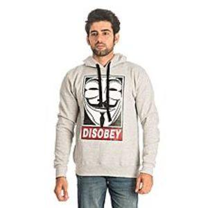 Al BuraqHeather Grey Cotton & Wool Disobey Printed Hoodie for Men
