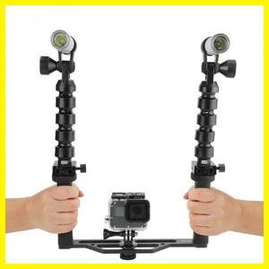 Black Durable Diving Two Handle Handheld Stabilizer with Flashlights for GoPro