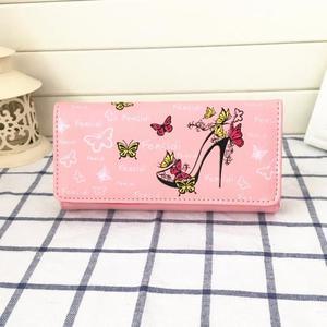 Women Butterfly High Heels Pattern Coin Purse Long Wallet Handbag