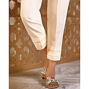 Bonanza SatrangiCream Cambric Ladies Unstitched Trouser