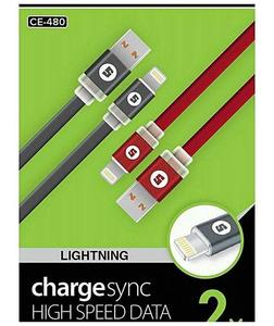 Model Ce-480 Lightening Charge/Snyc High Speed Data Noodle Usb Cable - Black