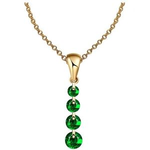World Wide Traders Green Crystal Beads Golden Necklace For Women
