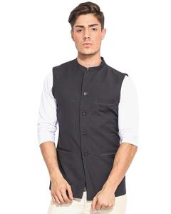 Dark Grey Cotton Waistcoat For Men
