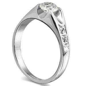 Silver Color Cubic Zirconia Wedding Ring Size No 7