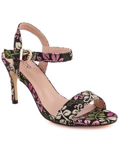 """Black Fabric Women """"QUINTY"""" Ankle Strap Printed Stiletto Slip On Sandals L30653"""
