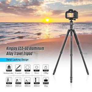 Kingjoy G55+G0 Aluminum Alloy 4-Section Travel Tripod Detachable Monopod with Panoramic Ball Head Twist Locking Design for Canon Sony Nikon DSLR Cameras Max. Height 155.5cm Max. Load 10kg