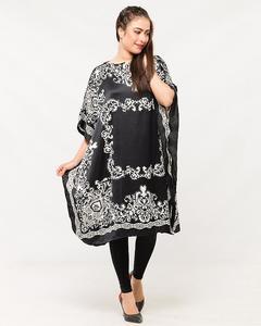 Black & White Polyester Poncho for Women