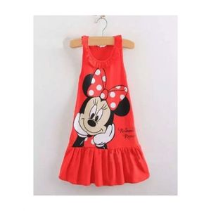 Fashion.Clicks Pink & Red Jersey Mickey Mouse Frock For Girls