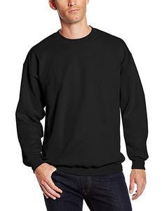 Black Plain Fleece Pullover Sweatshirt For Men