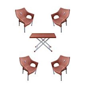 CHIEF(Boss) Set Of 4 Rattan Plastic Chairs And Plastic Table - Brown