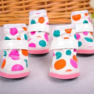 lala PU dot waterproof shoes Sporty Boots Soft Dog Sneaker Pet Protective Shoes