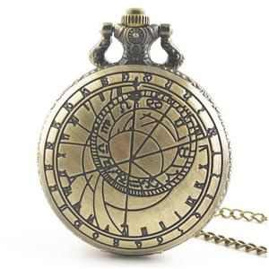 TE Antique Hollow Out Round Dial Quartz Pocket Watch Necklace Pendant Clock bronze color