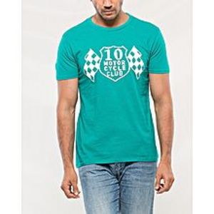 DenizenTeal Cotton T-Shirt For Men