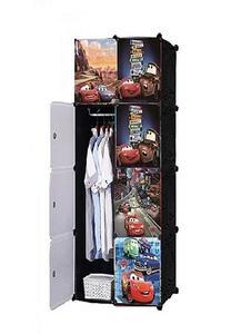 8 Cubes Mcqueen Disney Storage Cabinet Wardrobe Hanging Rod