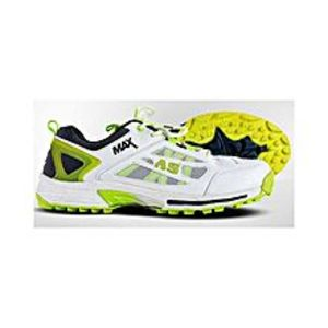 AS Sports White & Yellow Cricket Shoes - Rubber Sole - MAX