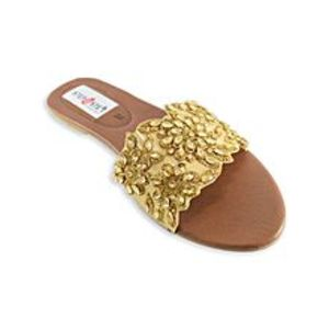 Step Buy Step Golden Fancy Slipper For Women