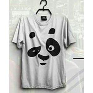 Hazel Grey Cotton Panda Printed Half Sleeves T-Shirt