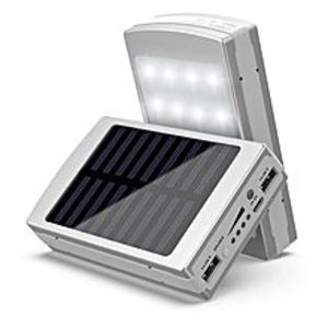 Smart CollectionsSolar Power Bank with 20 LED Light - Silver