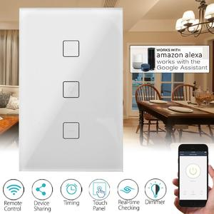3PCS 120mm WIFI Smart Dimmer Light Wall Switch Touch Panel For Echo/Alexa/Google Home