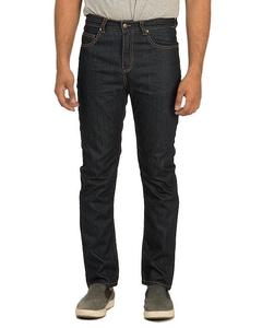 Dark Blue Cotton Denim Straight-leg High-Waisted Jeans with Brass Buttons for Men - Slim-fit -