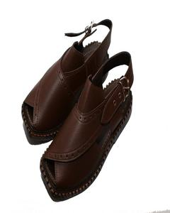 Artificial Leather Peshawari Sandal For Men - Brown