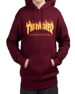 Thrasher Printed Maroon Fleece Kangaroo Hoodie For Unisex