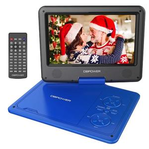 """DBPOWER 9.5"""" Portable DVD Player, 5 Hour Rechargeable Battery, Swivel Screen, Supports SD Card and USB, Direct Play in Formats AVI/RMVB/MP3/JPEG (Blue)"""
