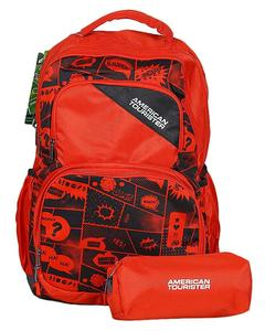 Pack of 2 - At Doodle III Backpack + Pencil Case - Crimson Red