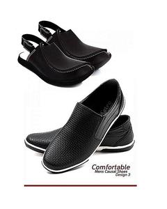 Pack Of Two Canvas Shoes With Peshawari Sandal - Black