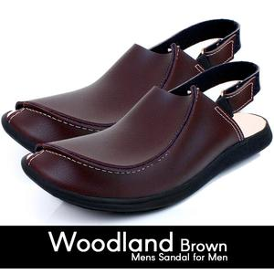 High Quality Woodland Brown Leather Traditional Peshawari Sandals for Men