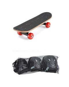 Skateboard For Children With Protective Safety Gear Pads - Black