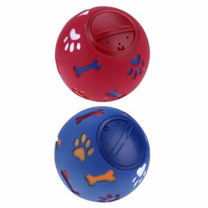 7.5/11 Cm Dog Pet Toys Leakage Food Ball Pure Natural Imported Rubber Dog Transparent Teeth To Bite Blue/S