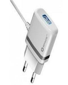 Space WC-105 (2.4A)  Wall Charger Plus Micro USB Cable  - White