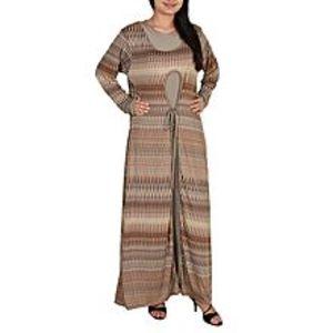 Fashion CaféCoffee Brown Spandex Jersey Star Fish Printed Long Dress