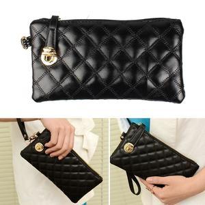 Women Ladies Soft Leather Long Clutch Wallet Card Purse Handbag Black
