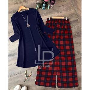 Plain Boski Shirt & Check Style Bootcut Suit For Girls (Shirt + Bootcut)