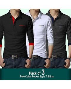 Pack Of 3 - Polo Collar Pocket T-Shirt For men