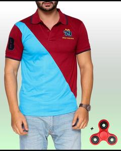 Blue and Maroon Double Shaded Polo t-shirt with Fidget spinner reducer stress Toy for men