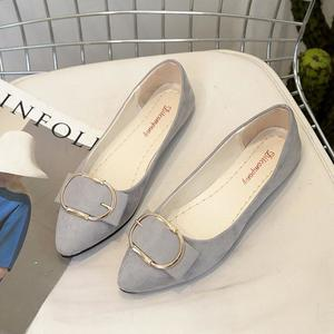 Fashion Women Suede Belt Buckle Flat Heel Pointed Toe Casual Shoes
