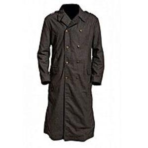 Leather CreativeGrey Cotton Long Coat For Men